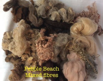 Dyed British Rare Breeds & Mixed Fibres for Blending. 160gms. Spinning, Felting supply. Merino, Teeswater, silk. 'Pebble Beach' Colourway