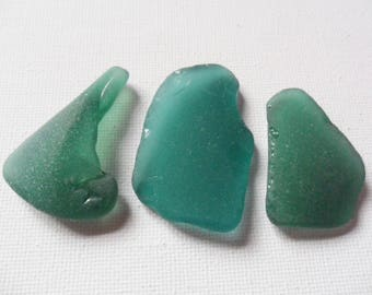 3 very pretty teal green sea glass - lovely colour english sea glass