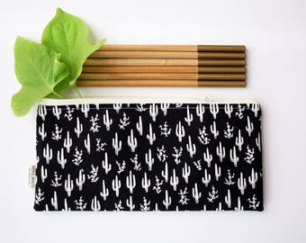 Cactus Pencil Case, Zipper Pouch, Back to School, Make Up Bag, Black and White, Boho, Saguaro, Kids, School Supplies, Teen, Women, Organize