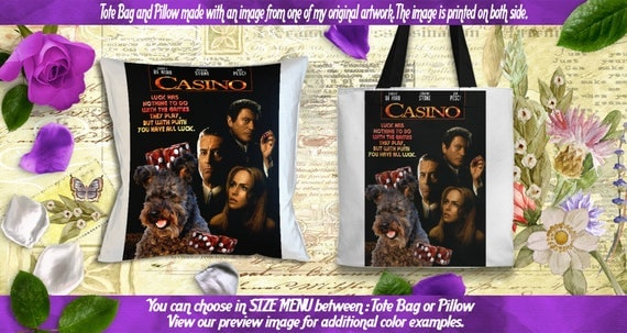 Pumi Pillow or Tote Bag/Pumi Art/Pumi Portrait/Dog Tote Bag/Dog Pillow/Dog Art/Custom Dog Portrait/Casino Movie Poster NEW Collection