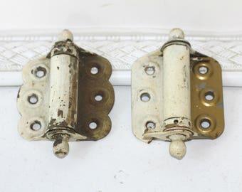 Pair Vintage Spring Hinges Brass | Covered with Old House Paint | Old Door Hinges | Antique Hinges | Metal Hardware | Vintage Industrial