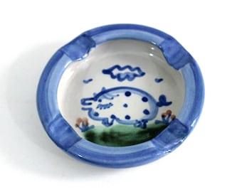 Pig Ashtray MA Hadley Blue and White   MA Hadley Farmhouse Pottery Collection Pig Theme   Animal Ashtray Signed   Pottery Ash Tray