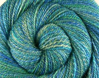 Handspun Yarn Dk weight - A THOUSAND SKIES - Handpainted Silk / Bluefaced Leicester wool, 288 yards, knitter gift, handspun weft yarn