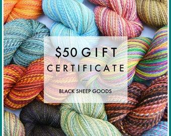 Gift Certificate - 50 Dollars - Handspun yarn gift certificate, gift for knitter, weaving yarn, Christmas gift for her