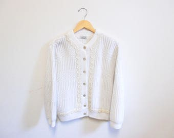 Vintage 1950s Sweater | Sequin Trimmed 1950s Cardigan | size large - xl