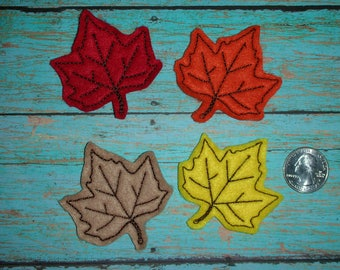 Autumn Fall Maple Leaf  felt - Great for Hair Bows, Reels, Clips and Crafts - Three Pointed Leaves Colors