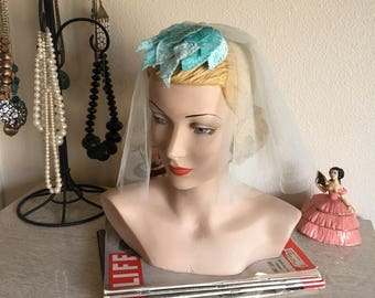Vintage 1950's Blue Flocked Leaves Headpiece with Short Veil