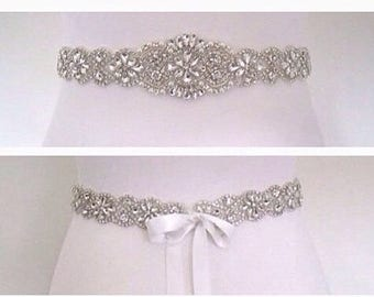 Crystal wedding dress belt, beaded wedding belt