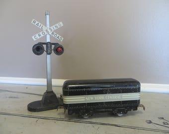 Vintage Metal Railroad Train Railroad Crossing Sign Lionel Train Mar Marx Train New York Central Industrial Train Decor