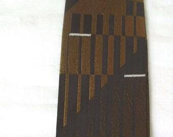 Trevira Brown Bronze Bars 1950s-60s Skinny Neck Tie