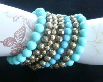 Beaded Bracelet 7 Strands Turquoise, Gold, Blue Beading Stretch
