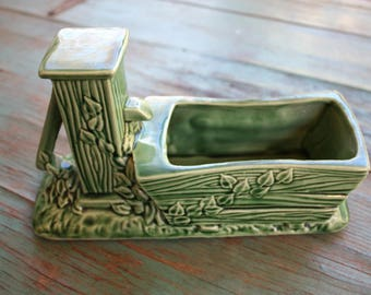 Leafy Green Shawnee USA Pottery Planter, Succulent Planter, Vintage Planter, Green Decor, Indoor Garden, Boho, Vintage Shawnee Planter