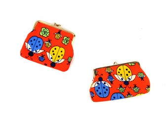 Vintage 1960's Red Fabric Ladybug Novelty Print Mod Change Coin Purse Wallet Pouch