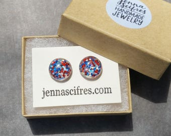 Red White Blue, Glitter Earrings, Patriotic Jewelry, 4th of July, USA Earrings, Fourth of July, Sparkly Stud Earring, Resin Glitter Earrings
