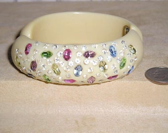 Vintage Unsigned Weiss Hinged Hard Resin Bracelet With Colorful Rhinestones 1950's Jewelry 11059