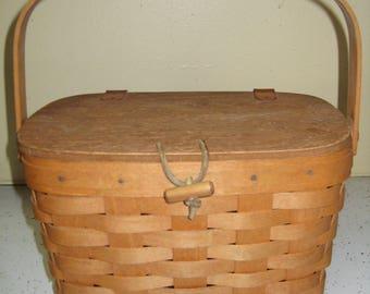1992 Longaberger Medium Purse Basket w/Protector & Plastic Liner SIGNED