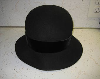 Vintage Amanda Smith Black with Bow Fashion Hat 100% Wool Made in Italy