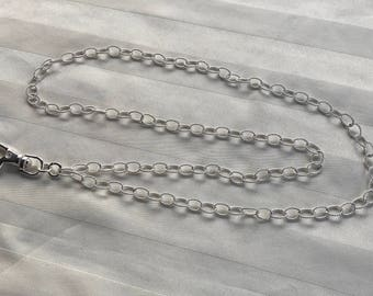 Sterling Silver Chain ID Badge Lanyard Medium Oval Twisted Links