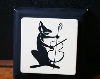 Vintage Cat Sign, Musician with Violin, Retro Cat Monochrome Decor
