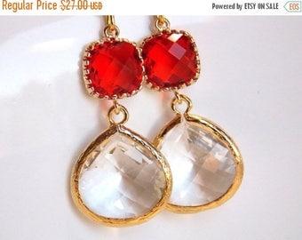 SALE Orange Earrings, Clear, Gold, Tangerine, Carnelian, Glass Earrings, Wedding Jewelry, Bridesmaid Earrings, Bridal Earrings, Bridesmaid G