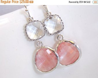 SALE Peach Earrings, Coral Earrings, Glass, Clear, Champagne, Silver, Wedding Jewelry, Bridesmaid Gift, Bridesmaid Earrings, Bridal Jewelry