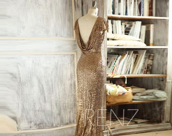 2017 Gold Sequin Bridesmaid Dress, Cap Sleeve Luxury Evening Dress, Scoop neck Metallic Sparkle Cowl Back Mother Of Bride Dress(TQ149)
