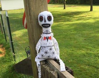 Sugar Skull Doll Ooak Cloth Doll Halloween Doll Handmade Doll