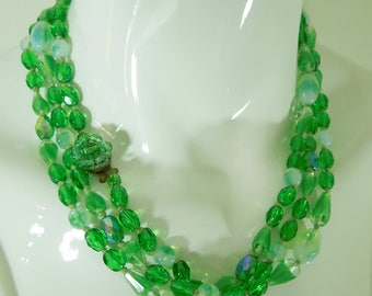 1940s W Germany Green Opaline Glass Necklace 58 Inches Hand Knotted Faceted Beads
