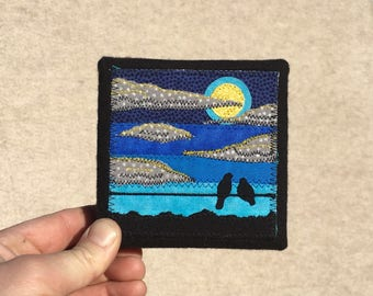 Under the Full Moon, 4x4 inches, original sewn fabric artwork, handmade, freehand appliqué, ready to hang canvas