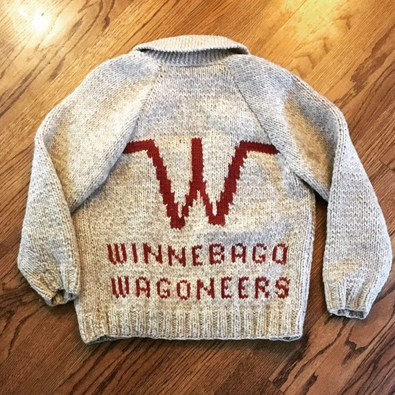 INCREDIBLE hand-knit Vintage Winnebago Wagoneers Zip Up wool Sweater men's size small Camper trailer wagon travel c1960s