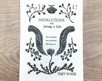 Instructions for Living a Life Mary Oliver Letterpress linocut block print