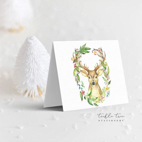 Christmas Greeting Cards - Happy Holidays Deer