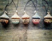 Individual Hand Decorated Pagan/Wiccan/Druid Wooden Acorn Charm - Various Designs