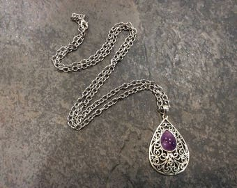 "CLEARANCE Extra Long filigree necklace with purple Amethyst gemstone 34"" necklace February birthstone"