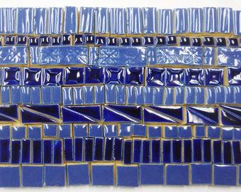 165+ Handmade Mosaic Tile Pieces Ceramic Stoneware Blue Tones Glazed Craft Tile Assortment #5