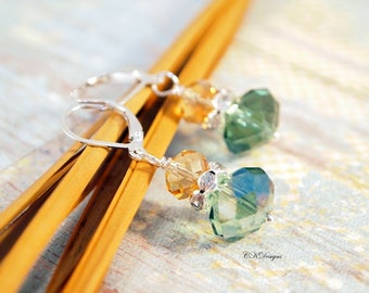 Amber and Green Crystal Drop Earrings,  Vintage Style Dangle Pierced Earrings Or Clip-on Earrings, Gift Ideas, CKDesigns.US