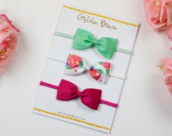 Baby Headbands Gift Set, Mint, Rose Floral and Hot Pink Grosgrain Ribbon Bow Handmade Headbands, Baby Bow, Newborn Headband, Girls bows
