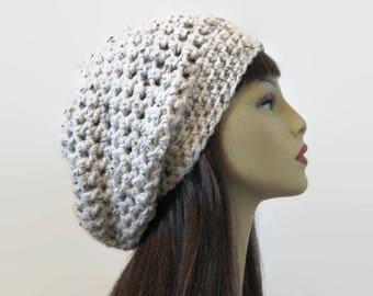 Oatmeal  Slouchy Beanie Crochet Slouchy Hat Cream Hat Tan Cap Beige Knit Beanie Oatmeal Tweed Beret Light Tan Hat Crochet Tam Crochet hat