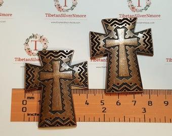 2 pcs per pack 49x40mm Large Cross Pendant Copper Tone Lead Free Pewter