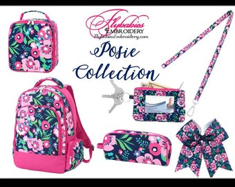 Personalized Posie Backpack ~ Lunch Box ~ Hairbow ~ Lanyard ~ ID Holder ~ Pencil Case ~ Monogrammed Posie Bookbag ~ FREE shipping