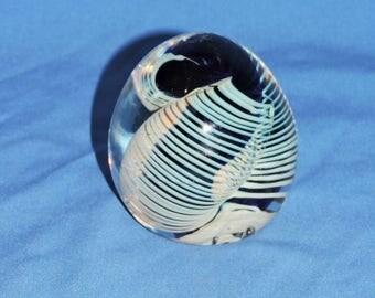 Vintage 1984 Glass Paperweight Blue Swirl Artist Signed Art Glass Paper Weight