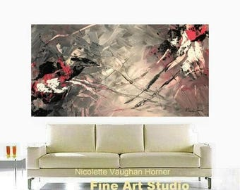 """SALE Original 48"""" gallery canvas Abstract painting,Original comtemporary Art,lots of texture Ready to hang  by Nicolette Vaughan Horner"""