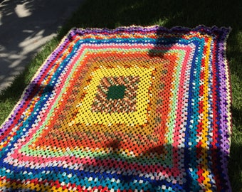 SQUARE BIZ BABY / Wonderfully Bright And Colorful Hand Crochet Square Design Granny Throw / A Piece Of Art / Boho / 73 x 62