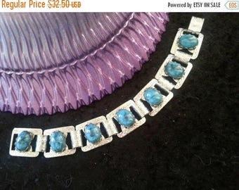 Now On Sale Vintage Aqua Teal Turquoise  Lucite 1960's Bracelet Retro Rockabilly Accessory