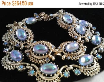 ON SALE Vintage CORO Cabochon & Rhinestone Necklace Bracelet Signed Demi Parure - Mid Century 1950's 1960's Rare Hard To Find Set