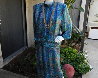 Vintage 1980's Morton Myles for The Warrens Blue Print Silk Dress - Size 8