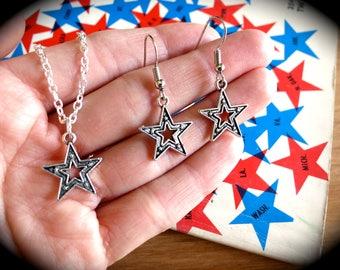 Silver Star Spangled Charm Earrings-CHOOSE Earrings, Necklace or Set-Night Sky, NASA, Space Jewelry-American Earrings-USA-Olympics Fashion