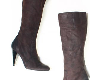 Nine West Brown Leather Knee High Metallic Heel Boots UK 6 US 8.5 EU 39