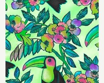 15% off thru Mar.19th TOUCAN DO IT-by the half yard by Ink & Arrow Qt fabrics-tropical bird flowers on green-26163 H