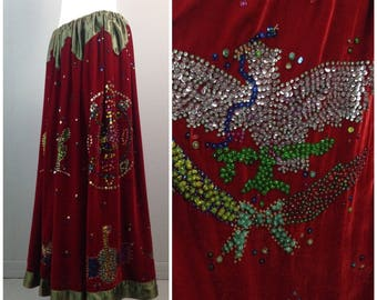 RARE Vintage 1960s 1970s Red Velour Authentic Gypsy Novelty Sequin Maxi Skirt / Women's  XL / 70s Handcrafted Hippie Bohemian